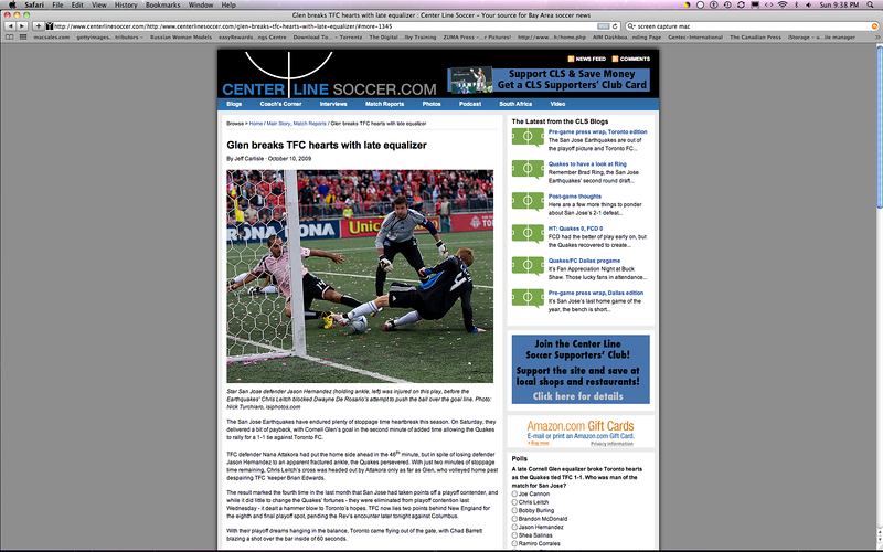 October 10, 2009: Article on centerlinesoccer.com featuring the San Jose Earthquakes playing the Toronto FC on October 10, 2009 at BMO Field in Toronto, Ontario.