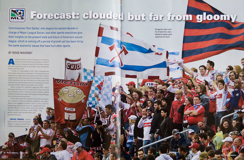 "16 May 09: ""Double Truck"" in the August 2009 Issue of Soccer America Magazine of the Chicago Fire fans showing their support during MLS action at BMO Field in a game between the Chicago Fire and Toronto FC.<br /> Chicago Fire won 2-0."