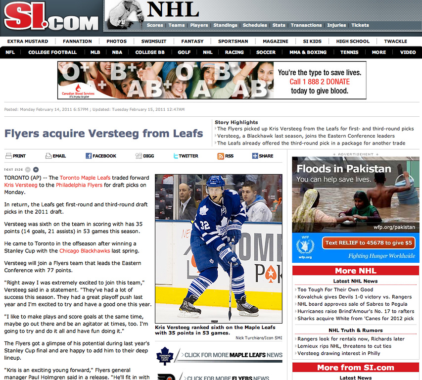 February 14, 2011: Kris Versteeg of the Toronto Maple Leafs at the Air Canada Centre in Toronto.