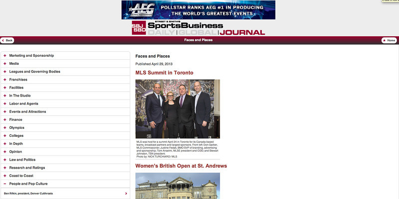 April 29, 2013: Sports Business Journal - ML Summit in Toronto.