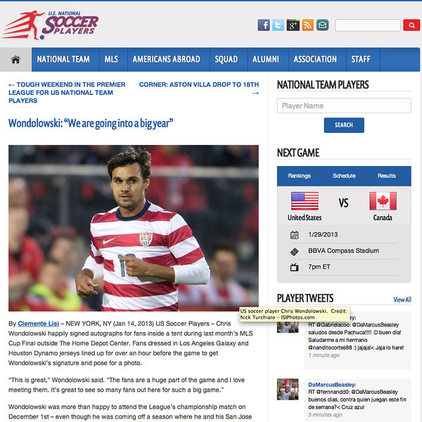 January 14, 2013: US National Soccer Team Player Chris Wondolowski - US National Soccer Players