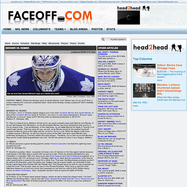 June 29, 2013: Faceoff.com - Toronto Maple Leafs Goalie James Reimer