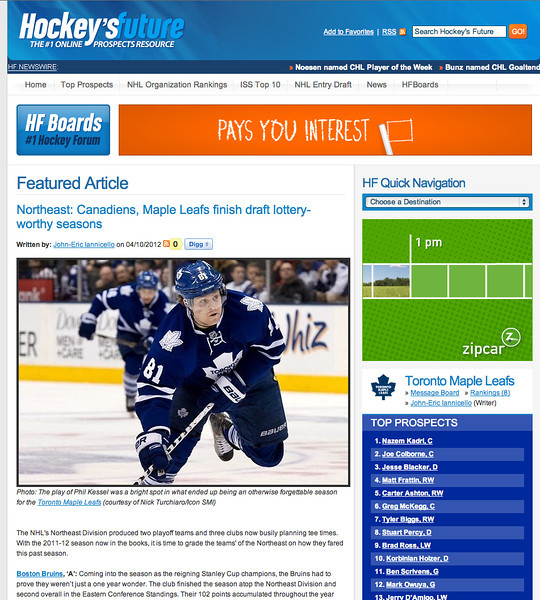 April 10, 2012: Hockey's Future - Toronto Maple Leafs Phil Kessel.