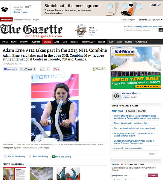May 31. 2013: The Gazette - Adam Erne - 2013 NHL Combine.