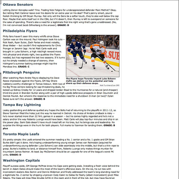 August 25, 2012: si.com - Philadelphia Flyers - Luke Schenn.