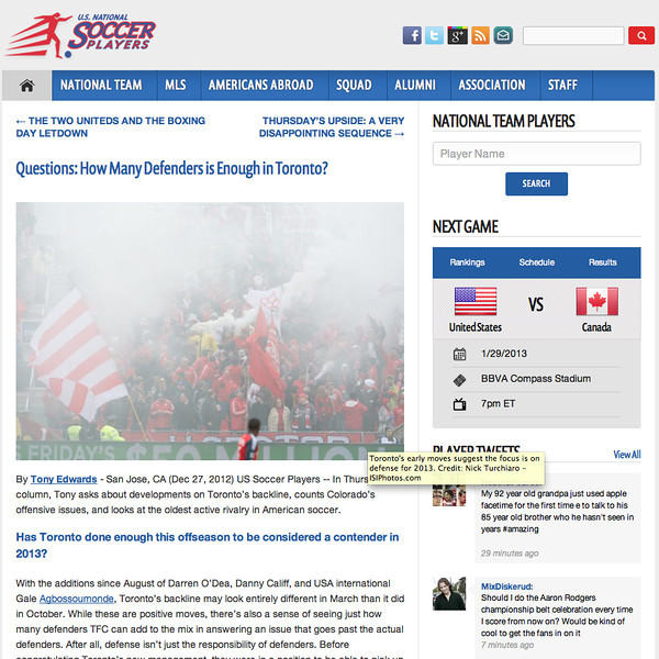 December 27, 2012: U.S National Soccer Players - Toronto FC Fans