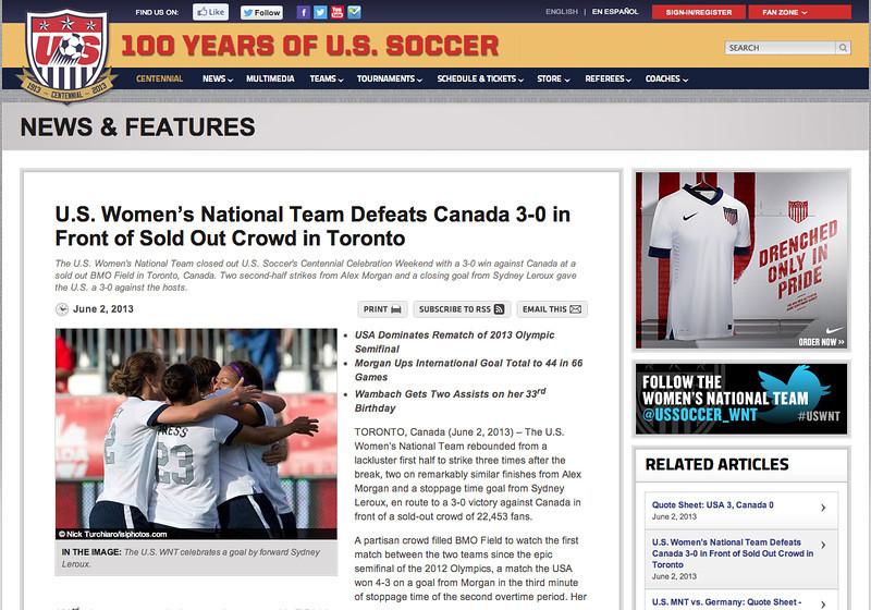 June 3, 2013: Ussoccer.com - USWNT vs Canada.