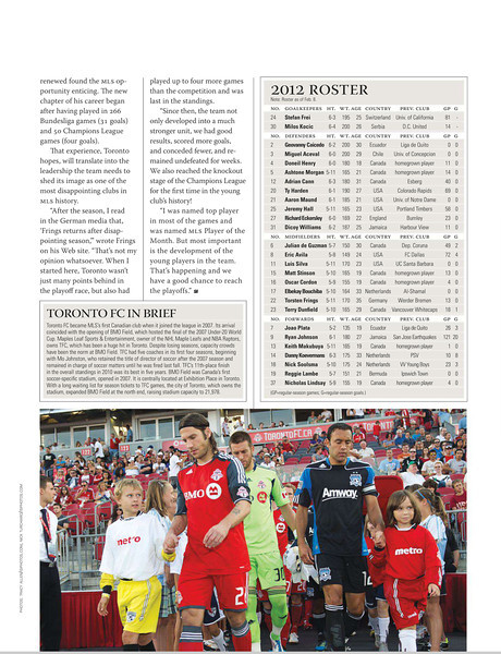 March 20, 2012: Soccer America Magazine - Torsten Frings Toronto FC.
