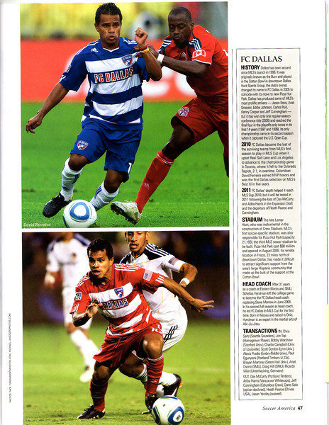 Soccer America Magazine - 2011 Guide to MLS Issue Page 47 top image of David Ferreira.