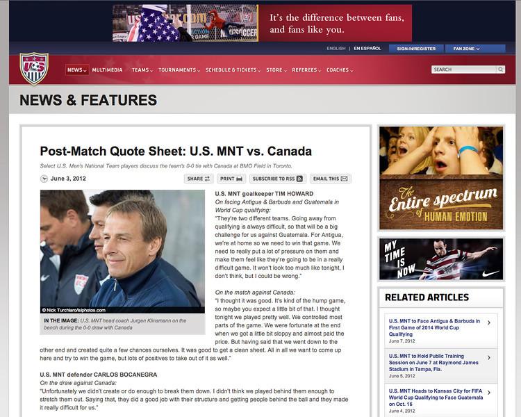 June 3, 2012: ussoocer.com - USMNT vs Canada - Jurgen Klinsmann.