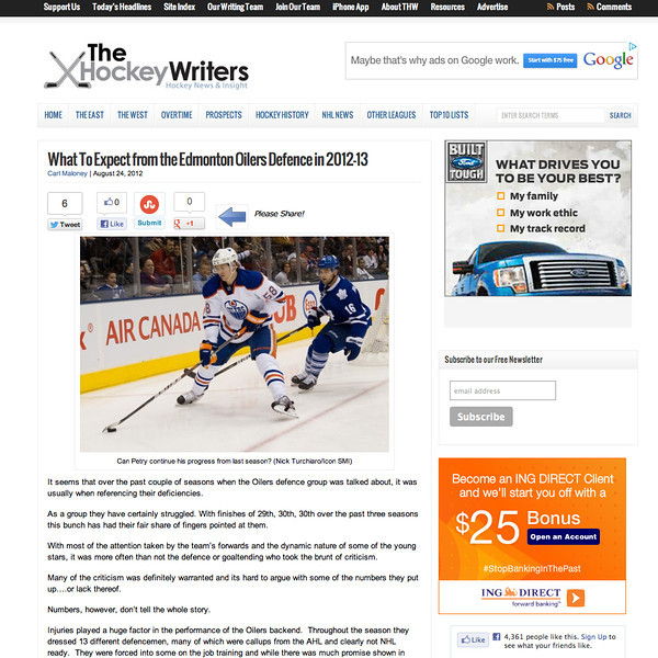 August 24, 2012: The Hockey Writers - Edmonton Oilers - Jeff Petry.