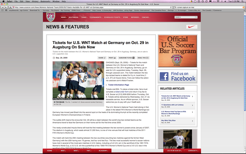 September 29, 2009: Article on USsoccer.com of the US Women's Soccer Team to take on Germany on October 29, 2009 in Augsburg.