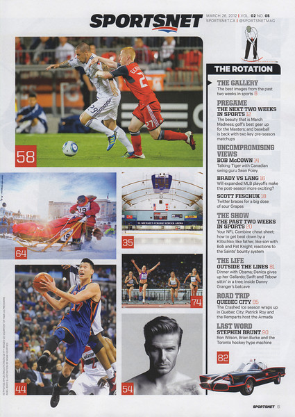 March 29,2012: Sportsnet Magazine Issue Page 5 - Top Photo Richard Eckersley Toronto FC