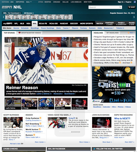 December 22, 2011: ESPM.com Toronto Maple Leafs Goalie James Reimer.