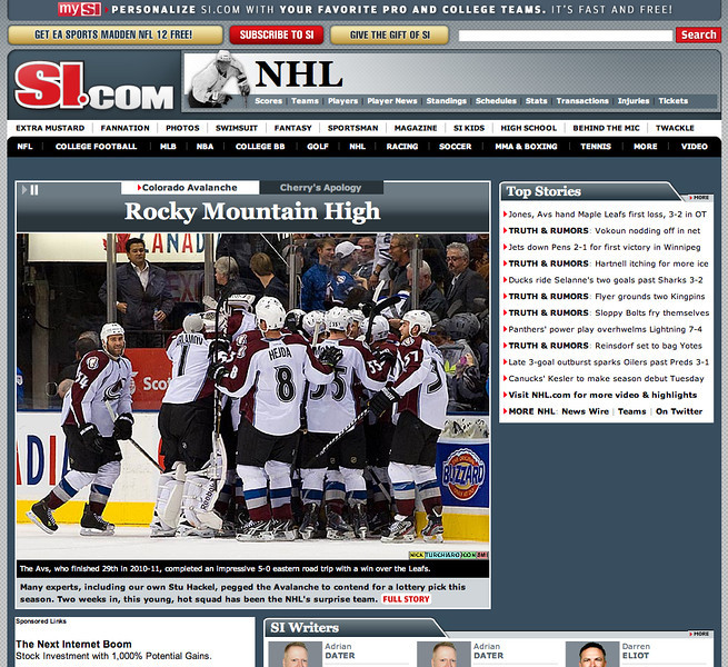 October 19, 2011: si.com the Colorado Avalanche at Toronto Maple Leafs.