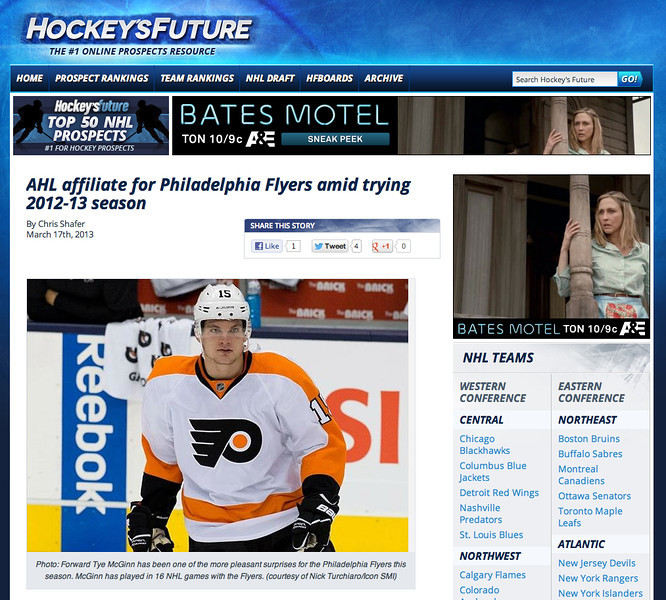 March 17, 2013: Hockeys Future - Philadelphia Flyers forward Tye McGinn #15.