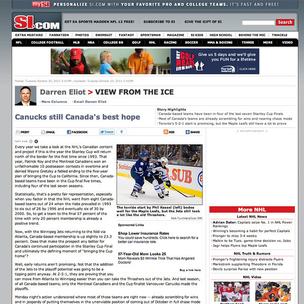 October 25, 2011: si.com Phil Kessel & Winnipeg Jets.