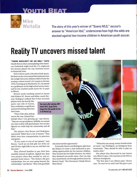 Soccer America Magazine 2009 June Issue Page 12 Jorge Flores.