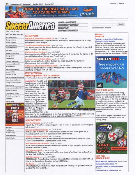 June 4, 2012: Soccer America - USA vs Canada Herculez Gomez & Julian de Guzman.