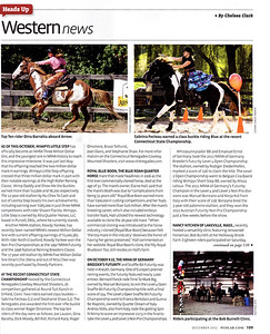Horsemen's Yankee Pedlar article, photos of Dina Baratta on Arrow and Sabrina Fecteau on Blue.