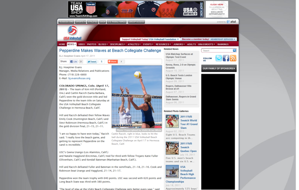 "USA Volleyball - ""Pepperdine Makes Waves at Beach Collegiate Challenge"" (April 17, 2011)"