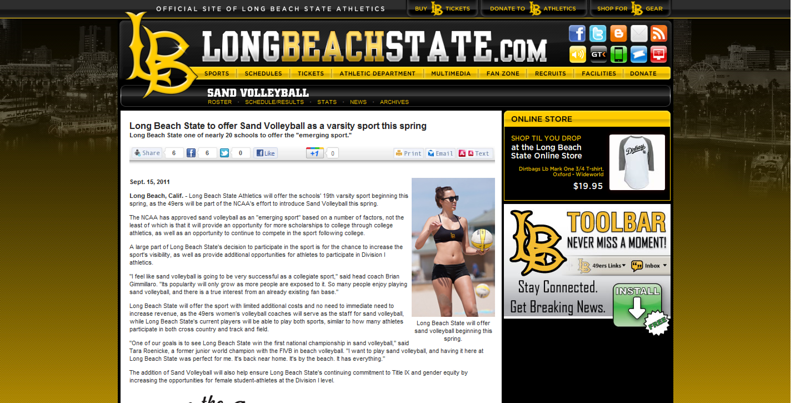 "Long Beach State - ""Long Beach State to offer Sand Volleyball as a varsity sport this spring"" (September 15, 2011)"