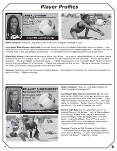 2012 Long Beach State Sand Volleyball Media Guide (top right and bottom image)