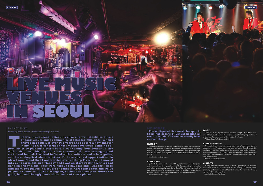 - Groove Magazine: March, 2010 - (2-Page Spread: Live Music Venues - Club Ta, Club FF)