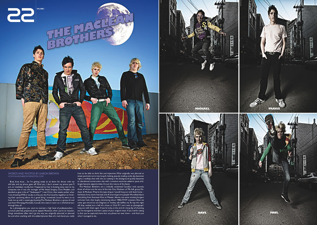 - Groove Magazine: May, 2010 -<br /> Words and Photos<br /> (2 Page Spread of The MacLean Brothers)