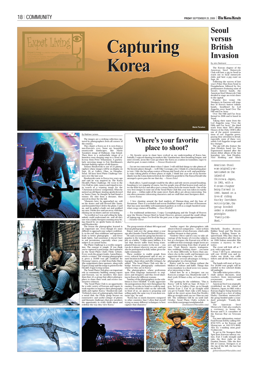 - The Korean Herald: September 25, 2009 - (Bottom Left Corner)