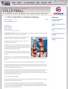 USA Volleyball - USAV Hosts Beach Collegiate Challenge 3/13/2013