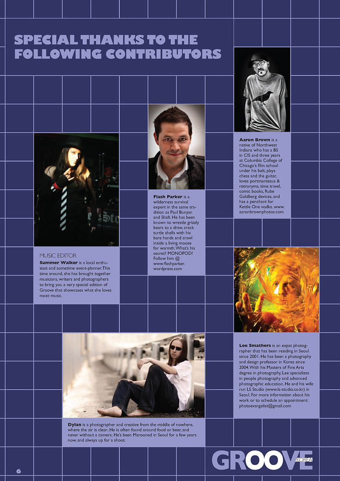 - Groove Magazine: March, 2010 -<br /> (Special Thanks: Bio - Top Right)