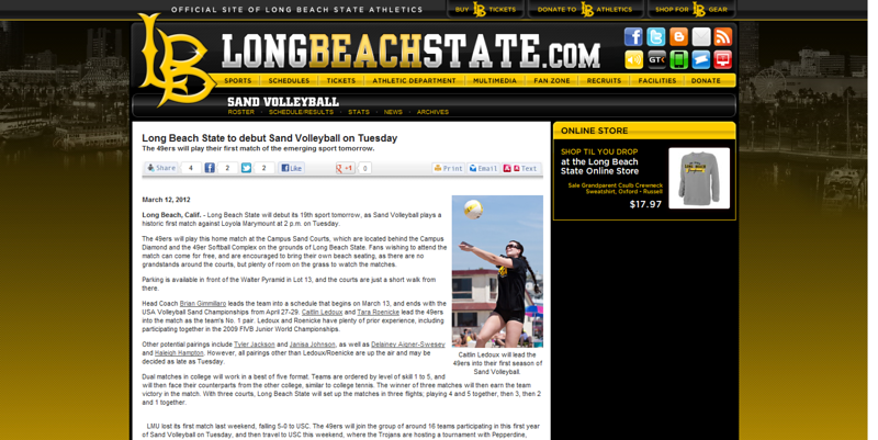 "Long Beach State - ""Long Beach State to debut Sand Volleyball on Tuesday"" (March 12, 2012)"