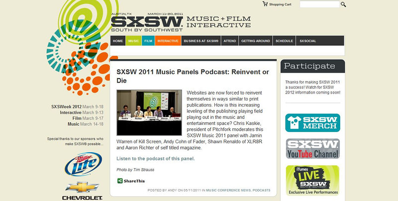 """SXSW.com - May 11th, 2011.<br /> """"SXSW 2011 Music Panels Podcast: Reinvent or Die""""<br /> Photo by Tim Strauss"""
