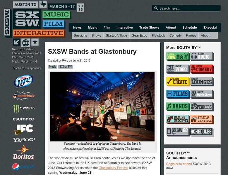 "SXSW.com - June 21st, 2013.<br /> ""SXSW Bands at Glastonbury""<br /> Photo by Tim Strauss"