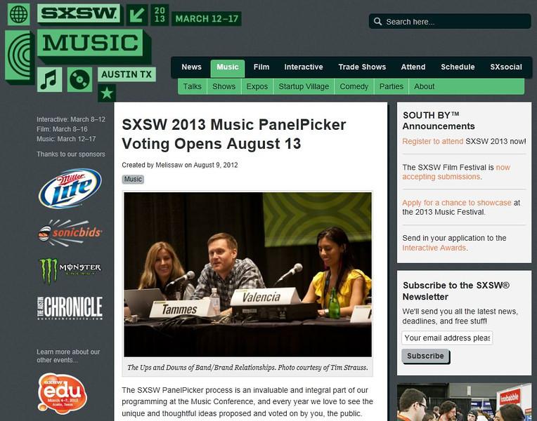 "SXSW.com - August 25th, 2012.<br /> ""SXSW 2013 Music PanelPicker Voting Opens August 13""<br /> Photo courtesy of Tim Strauss"