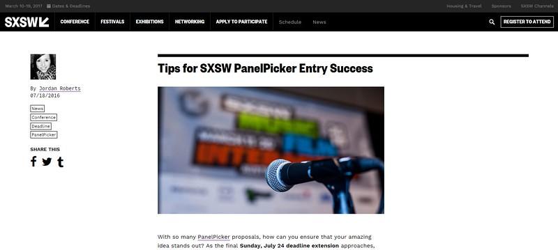 "www.sxsw.com/news/2016/panelpicker-tips/ - July 23rd, 2016.<br /> ""Tips for SXSW PanelPicker Entry Success"" <br /> Photo by Tim Strauss"