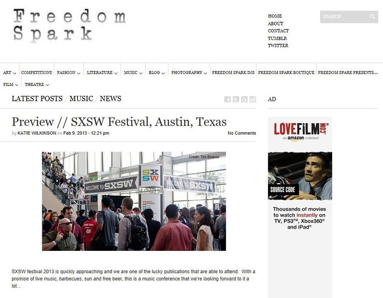 "Freedom Spark- February 9th, 2013<br /> ""Preview // SXSW Festival, Austin, Texas""<br /> Credit:  Tim Strauss"