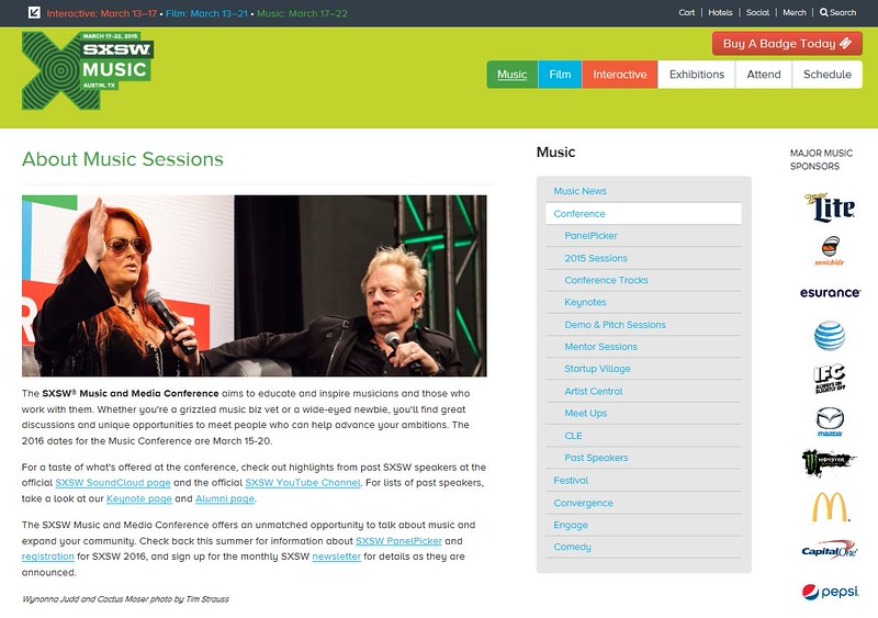 """SXSW.com - May 12th, 2015.<br />  """"About Music Sessions""""<br /> Wynonna Judd and Cactus Moser photo by Tim Strauss"""