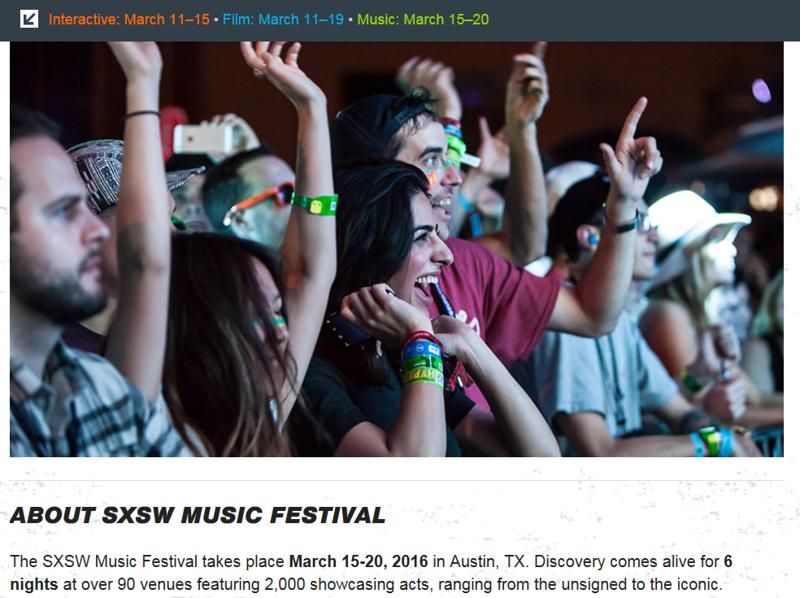 "wristbands.sxsw.com - December 3rd, 2015.<br /> ""SXSW Music Festival Wristbands""<br /> Photo by Tim Strauss"