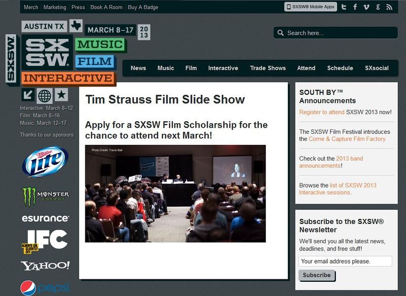 "SXSW.com - December 18th, 2012.<br /> ""Tim Strauss Film Slide Show""<br /> Photo courtesy of Tim Strauss"