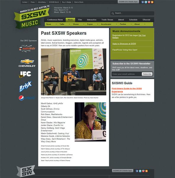 "SXSW.com - August 16th, 2011.<br /> ""Past SXSW Speakers""<br /> Photo by Tim Strauss"