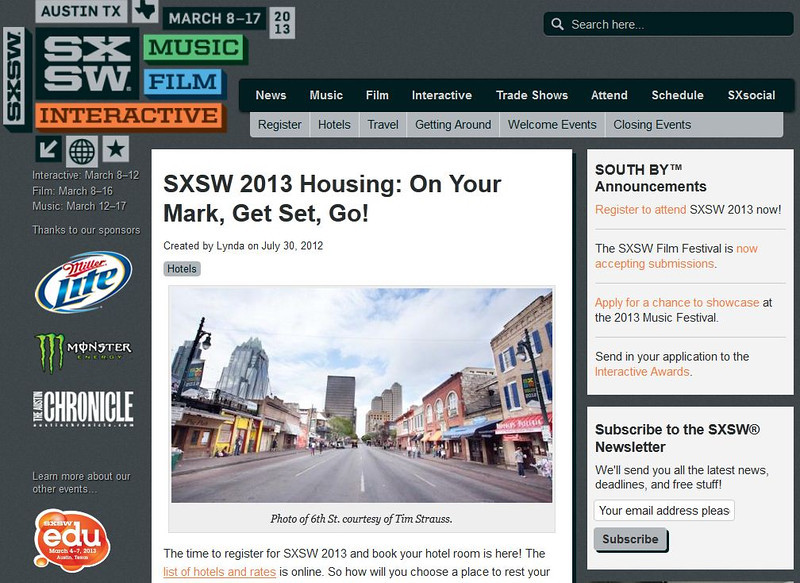 """SXSW.com - July 30th, 2012.<br /> """"SXSW 2013 Housing: On Your Mark, Get Set, Go!""""<br /> Photo of 6th St. courtesy of Tim Strauss"""