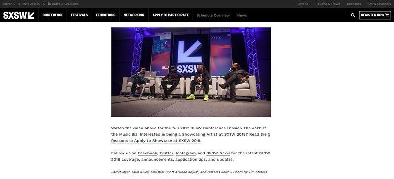 """SXSW.com - August 23rd, 2017.<br /> """"The Jazz of the Music Biz with Talib Kweli and More at the 2017 SXSW Conference""""<br /> Photo by Tim Strauss"""