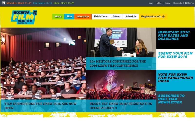 "SXSW.com - June 29th, 2015.<br />  ""SXSW Film News""<br /> 2015 SXSW Film audience (Front page) photo by Tim Strauss"