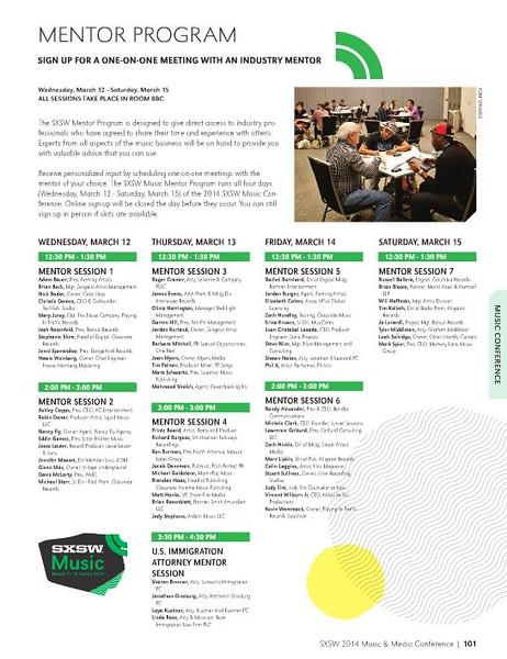 SXSW Music 2014 Program Guide<br /> Mentor Program photo credit Tim Strauss