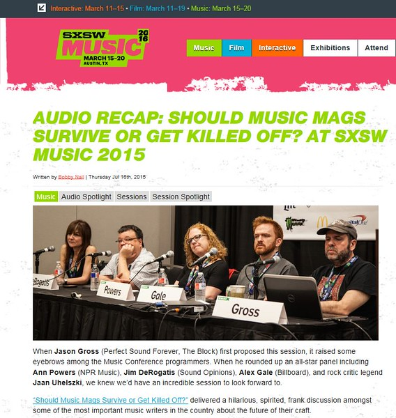 """SXSW.com - July14th, 2015.<br /> """"Audio Recap: Should Music Mags Survive or Get Killed Off? at SXSW Music 2015""""<br /> Photo by Tim Strauss"""