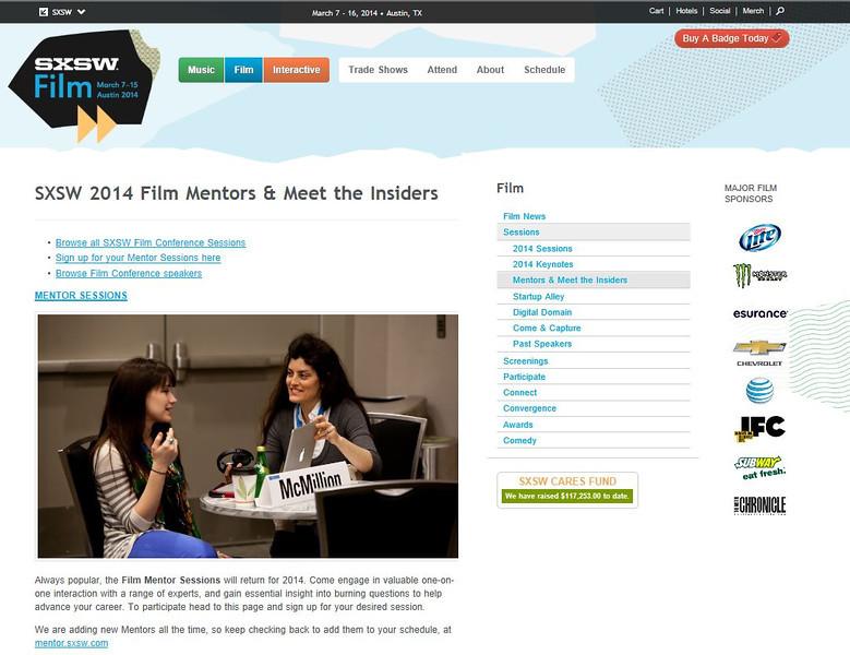 "SXSW.com - March 7, 2014.<br /> ""SXSW 2014 Film Mentors & Meet the Insiders""<br /> Photo courtesy of Tim Strauss"