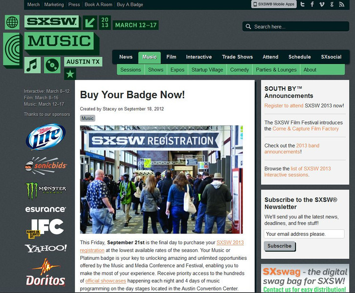 """SXSW.com - December 18th, 2012.<br /> """"Buy Your Badge Now!""""<br /> Photo courtesy of Tim Strauss"""