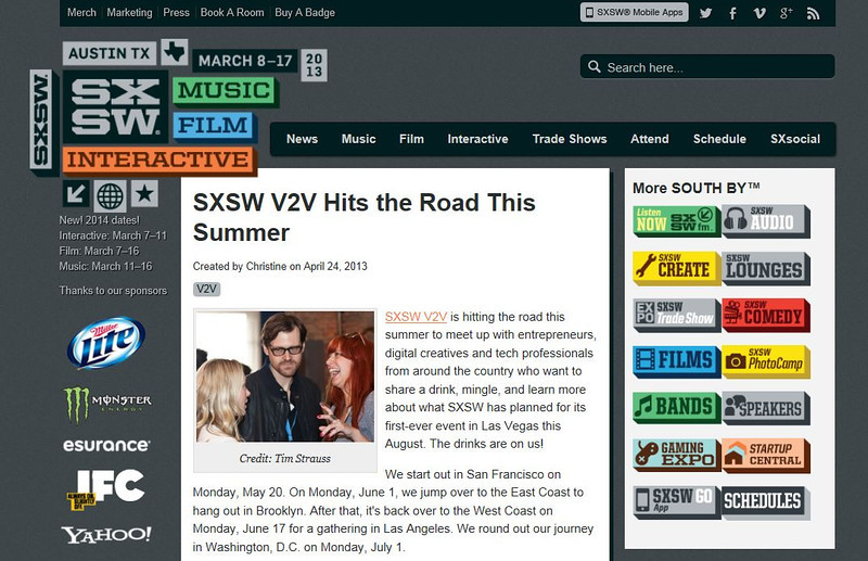 """SXSW.com - April 24th, 2013.<br /> """"SXSW V2V Hits the Road This Summer""""<br /> Credit Tim Strauss"""
